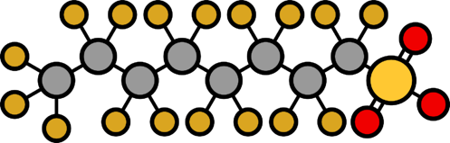 Perfluorooctanesulfonic acid PFOS molecule image